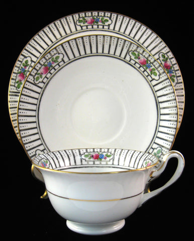 Shelley England Milton Shape Cup Saucer And Plate Roses Stripes 1915