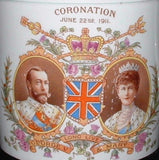 Coronation Mug Shelley 1911 King George V Color Portraits Lion Back