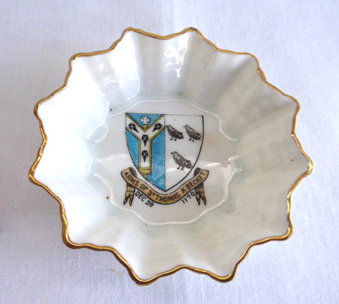 Shelley Crested China Dish Thomas Becket Souvenir Canterbury 1910s Open Salt