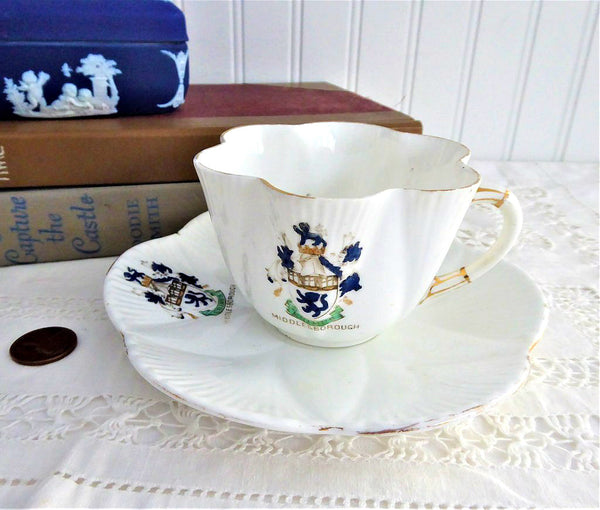 Shelley Dainty Crested Cup and Saucer Middlesborough 1912-1925 Souvenir