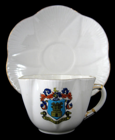 Shelley Dainty Crested China Cup And Saucer Southbourne 1912-1925 Souvenir