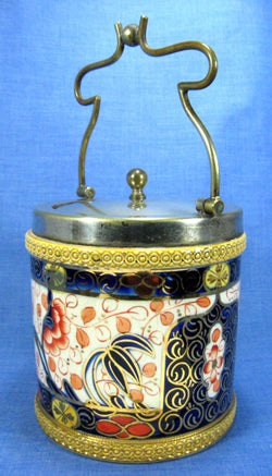 Imari Biscuit Barrel Cookie Jar Gold Overlay Cobalt Blue 1915-1918