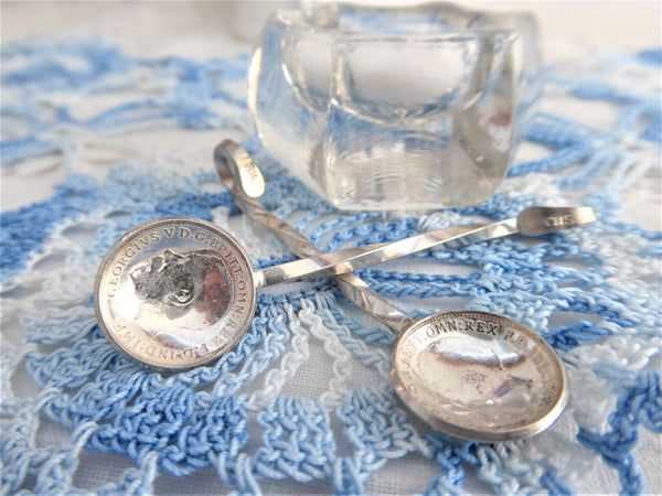 Pair George V Threepence Coins Sterling Silver Salt Spoons Hand Made 1916-1922