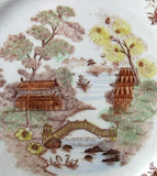 Willow Brown Transferware Dinner Plate Polychrome England 1920s 10 Inch