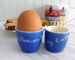 Egg Cup Pair Devon Ware 1920s Berkeley Castle Walton-On-Naze Eggcups Blue White