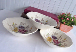 Square Cereal Bowls 3 Sheraton Johnson Brothers 1940s Floral Transfer Hand Colored
