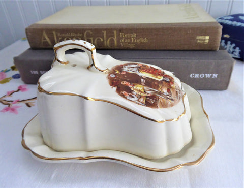Dickens Ware Oliver Twist Butter Dish Cheese Dome 2 Piece 1920s Lancaster