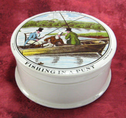 Fishing In A Punt Pot And Lid Ceramic Jar St. James's Vintage Hackney 1920s