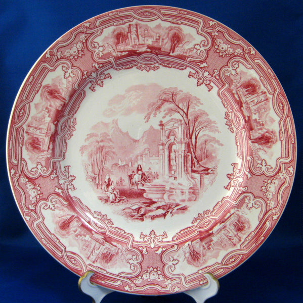 25% OFF Today! Grimwades England Red Transferware 10 Inch Dinner Plate Genoa Ironstone 1920s