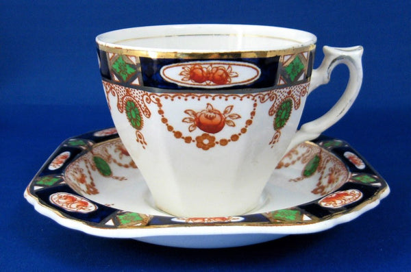 Imari Cup And Saucer 1920s T Hughes England Ironstone Deep Square Saucer
