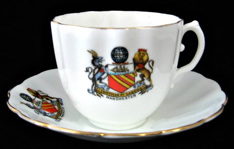 Crested China Cup And Saucer Manchester Birks Rawlins 1920s Souvenir Teacup