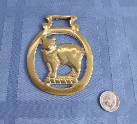 Manx Cat Horse Brass England Isle Of Man Symbol 1920s Harness Ornament