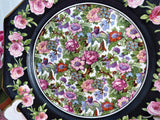 Crown Ducal Roseland Chintz Lunch Plate 1930s Roses Black Bands Flowers Birds