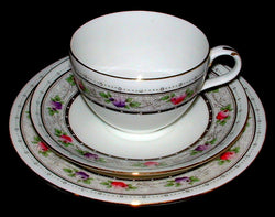 Shelley England Cup Saucer Plate Rose Lace Bute Shape 1920s Teacup Trio