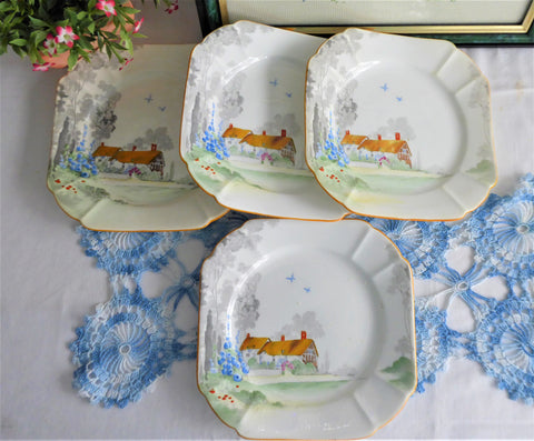 Shelley Cottage 2  Art Deco Set 4 Plates Salad Queen Anne Shape 1928