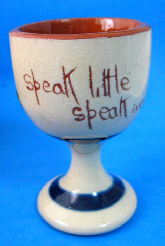 Motto Ware Egg Cup Watcombe England Speak Little Speak Well 1920s