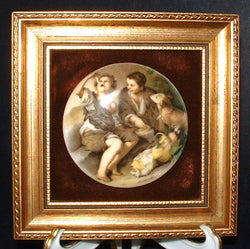 English Framed Ceramic Plaque Boys and Dog Gold Frame Vintage 1920s Wall Art