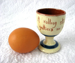 Motto Ware Egg Cup England A Rolling Stone Gathers No Moss 1920s
