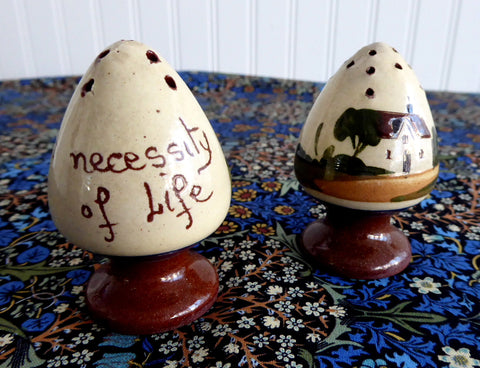 Mottware Salt And Pepper Torquay Devon Motto Egg Shape 1920s