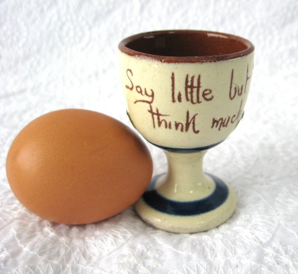 25% OFF Today! Mottoware Egg Cup Motto Say Little Think Much 1920s England Mottow Ware Devon