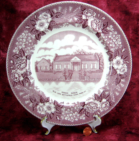 Mulberry Transferware Plate Pioneer Museum Blue Licks KY Adams Jonroth 1920s