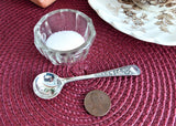 United Kingdom Symbols Salt Spoon Mustard Silver Plate 1930s Fancy Handle No Mono
