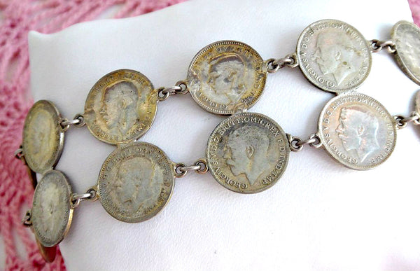 Silver Coin Bracelet Coins King George V Silver Threepenny Bits 1915-1935 England
