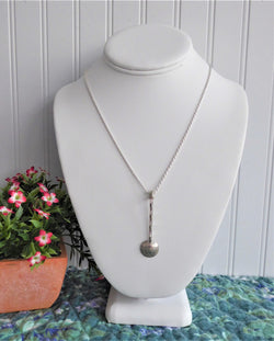 Handmade George V Threepence Salt Spoon Sterling Silver Necklace Barley Twist 1920s Sterling Rope Chain