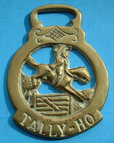 Horse Brass England Tally Ho Hunter 1920s Harness Brass Pub Brass