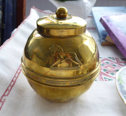 Liption Lion Brass Tea Caddy British Empire Exhibition 1924 Art Deco Globe