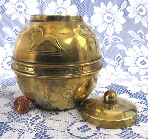 British Empire Exhibition Lipton Tea Caddy 1924 Brass Lion Art Deco