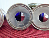 English Salt Dips 4 Art Deco Silver And Cobalt Blue Glass Liners Open Salts 1920-1930s