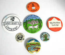 Pinback Buttons Collection Lot of 7 Lapel Badges England 1930-1950