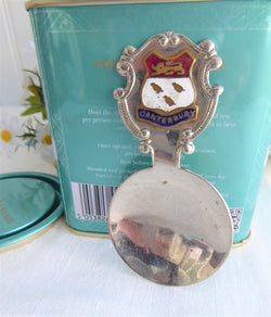 Canterbury England Tea Caddy Spoon Tea Scoop Enamel Shield Finial 1930s Becket