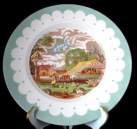 Clarice Cliff Dinner Plate Rural Scenes Royal Stafforshire 1930s Brown Transferware
