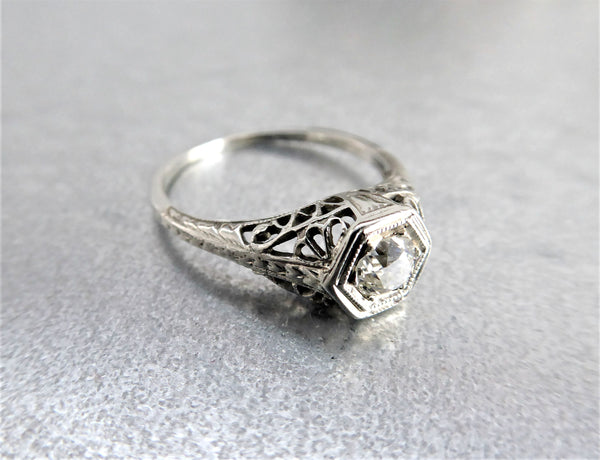 Art Deco Diamond Ring 18k Gold Filigree .52 Carat Old European Cut Diamond 1930s