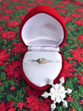 Art Deco Diamond Ring 18k Gold Filigree .52 Carat Old European Cut Diamond 1930s Red Heart Box