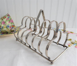 English 1930s Toast Rack Gothic Arch Silverplate Letter Holder Ball Feet Napkins Cutlery