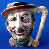 English Character Jug Bearded Man With Cane 1930s Hand Painted Toby Jug Hobo