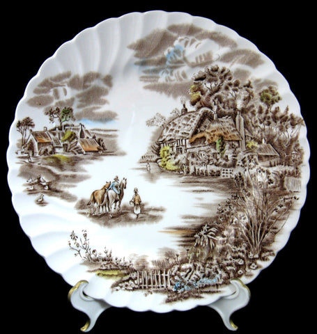 Happy England Luncheon Plate Brown Transferware Johnson Brothers 1940s