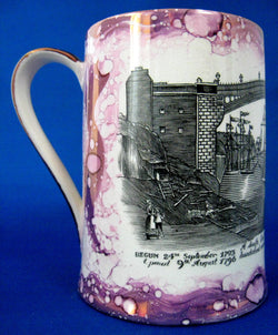 Purple Luster Tankard Iron Bridge Engraving Grays 1930s Sunderland Luster