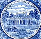 Blue Transferware Dinner Plate Monticello Ridgways 1930s England 9.75 Inches