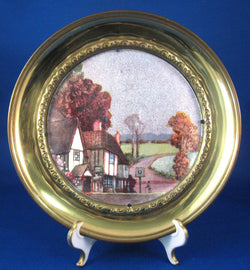 Brass Plaque Metallic Timbered English Village Pub Vintage 1930s Wall Art England