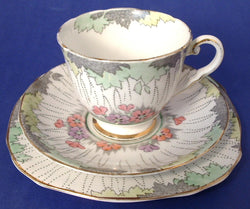 English Art Deco Teacup Saucer Plate Royal Stafford 1930s Deco