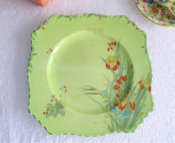 Royal Winton Grimwades Iris Square Dinner Plate 1930s Hand Painted Green