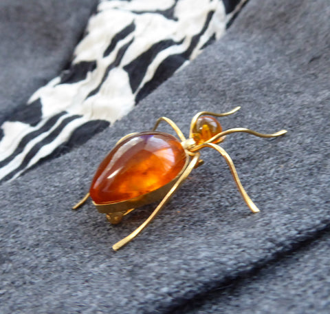 Spider Genuine Amber 1930s Signed Russian 8kt Gold Brooch Pin Hand Made USSR