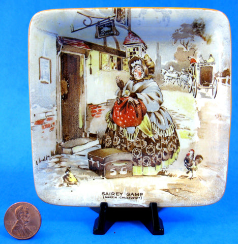 Sairey Gamp Dickens Pin Dish New Hall Teabag Caddy 1930s Trinket Dickensware