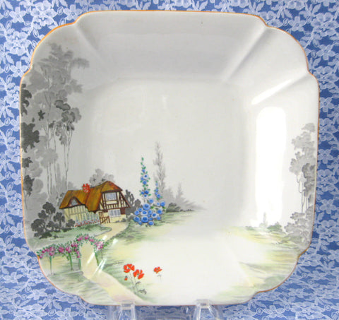 Shelley Cottage 2 Serving Bowl Art Deco Queen Anne Thatched Cottage 8.25 Inch