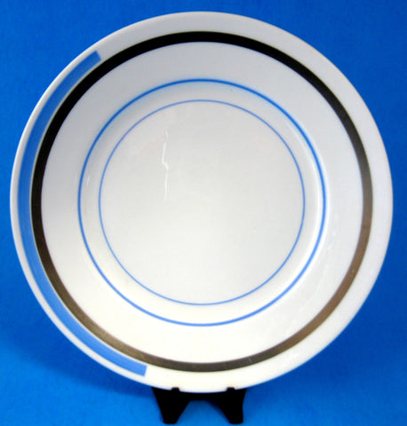 Shelley Eve Salad Plate Blue And Silver Bands Art Deco 1930s 7 Inches