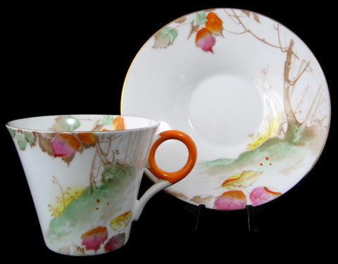 Shelley China Deco Trees Leaves Regent Cup And Saucer Demi